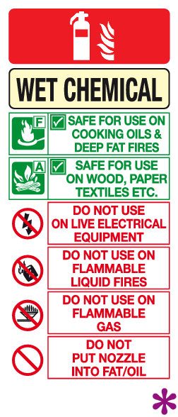 Wet Chemical Fire Extinguisher Instructions Sign Safety
