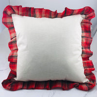 Merry Christmas Gnomes Sliding Pillow Cover with Plaid Ruffles