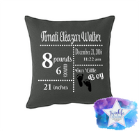 Baby Birth Stat Pillows, Baby Pillows, Personalized Birth Pillows, Custom Stats Pillow Case, Baby's Gift, Custom Pillow With Birth Stats