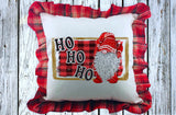 Ho Ho Ho Christmas Gnome Pillow Cover with Plaid Ruffles