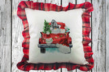 Vintage Truck with Christmas Gnomes Pillow Cover with Plaid Ruffles