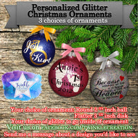 Personalized Glass Glittered Christmas Ornaments, Baby's First Christmas Ornament, Custom Glitter Tree Decorations, Flat Christmas Disk,