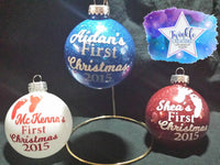 Baby's First Christmas Glitter Tree Ornament, Boy's Christmas Ornament, Girl's Christmas Ornament, Personalized Baby Christmas Ornaments,