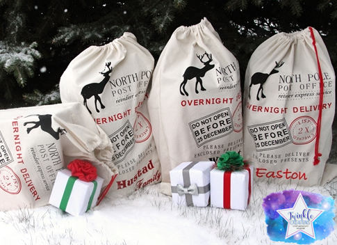 Personalized Santa Sack, Santa Claus Bags, Christmas Bag, Santa Name Bag, Christmas Gift, Holiday Sack, Holiday Toy Bag, North Pole Bag,