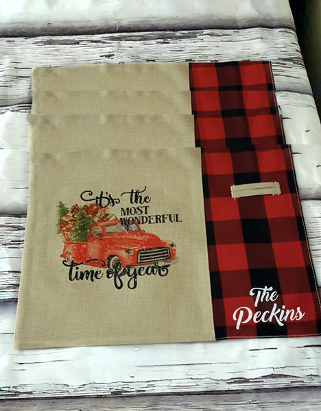 Christmas Placemats, Buffalo Plaid Christrmas