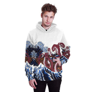 Autumn Winter Women Sweatshirt The Great Wave Off Kanagawa Hoodies Couples Lovers Suit harajuku Hoodies Sweatshirt