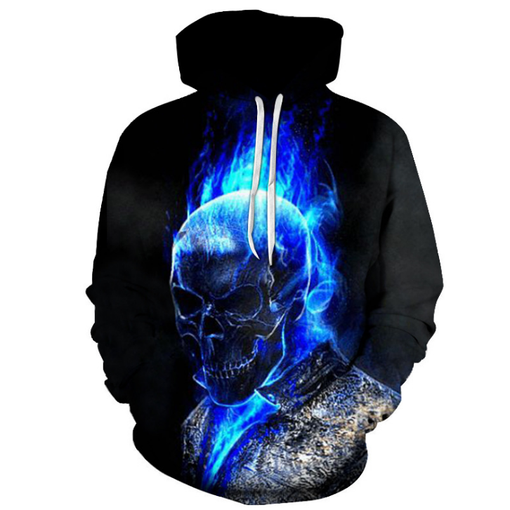 The latest blue skull print men's 3D hoodie fashion casual men's sweatshirt hip hop pocket hoodie, ahegao hoodie