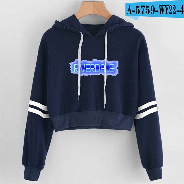 Women Sexy Crop Top Hoodies RIVERDALE Southside Serpent Print harajuku Casual Hoodies Sweatshirts