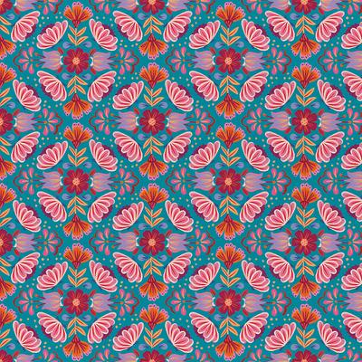 Viva Mexico Small Floral Blue - 628