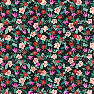 Flamingo Christmas Floral Black - 626