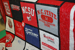 NC State Veterinary Degree themed t-shirt quilt