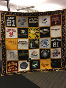 James's Roll the Quad T-Shirt Quilt