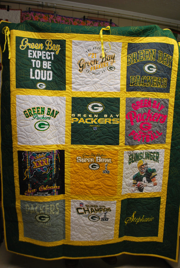 Green Bay Packers T-shirt Quilt