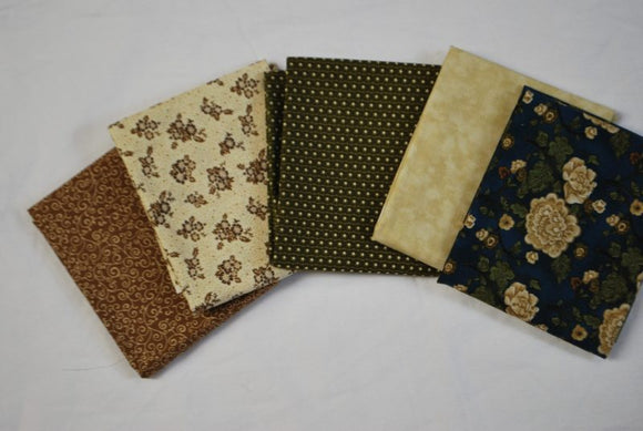 5 Half Yards Bundle pack #1007 Brown, Green, Blue