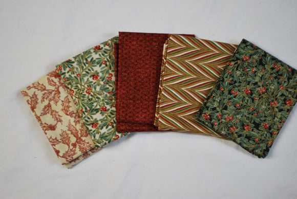 5 Half Yards Bundle pack #1020 Christmas Collection #1