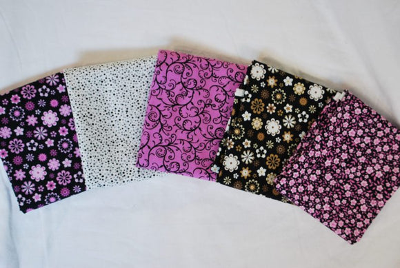 5 Half Yards Bundle pack #1029 Pink and Black Floral