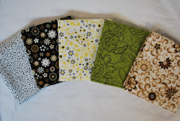 5 Half Yards Bundle pack #1030 Floral and Dots Neutral Tones