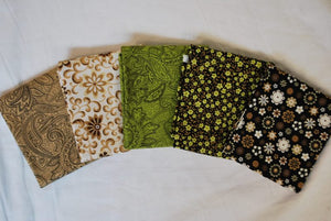 5 Half Yards Bundle pack #1031 Floral and Paisley Browns and Greens