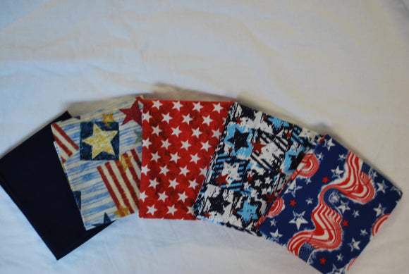 5 Half Yards Bundle pack #1034 Patriotic Pack