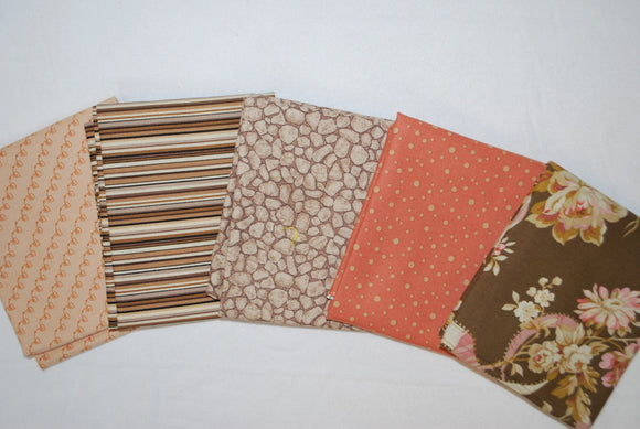 5 Half Yards Bundle pack #1043 Brown and Coral Print