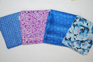 4 Half Yards Bundle pack #1044 Blue and Purple Floral and Geometric