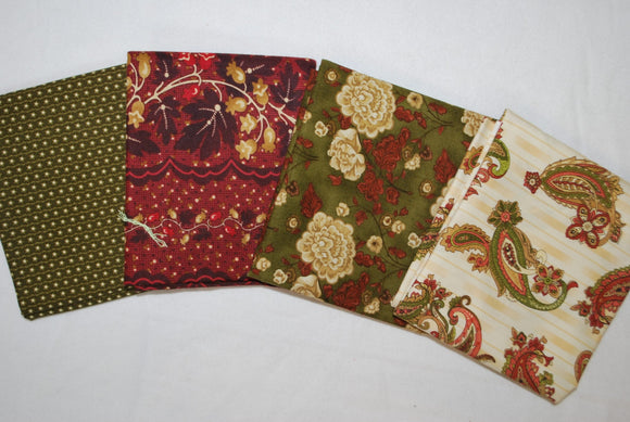 4 Half Yards Bundle pack #1045 Red and Green Paisley and Floral