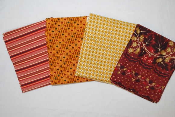 4 Half Yards Bundle pack #1047 Red, Orange, and Yellow Print