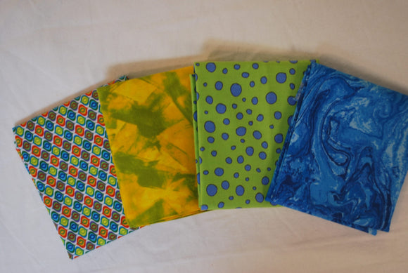 4 Half Yards Bundle pack #1049 Bright Patterns and Tonal