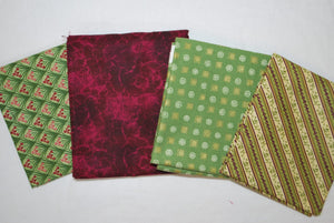 4 Half Yards Bundle pack #1051 Greens and Purples