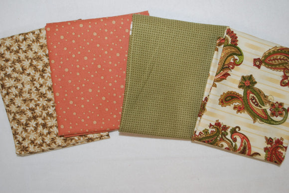 4 Half Yards Bundle pack #1052 Coral, Green, and Cream