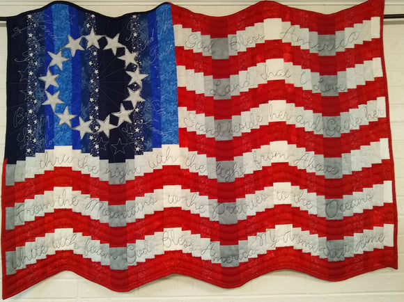 God Bless America Quilted Flag Wallhanging