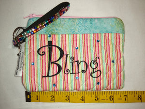 Quilted Wristlet Purse - Bling Stripe Aqua