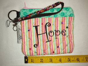 Quilted Wristlet Purse - Hope Stripe Mint