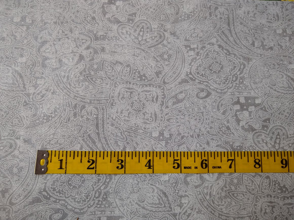 Precut, 3 yards Wide Backing - Subtle Paisley Light Gray #681
