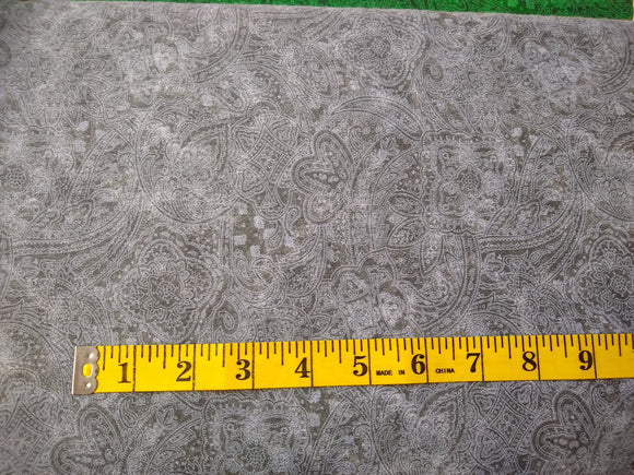 Precut, 3 yards Wide Backing - Subtle Paisley Gray #684