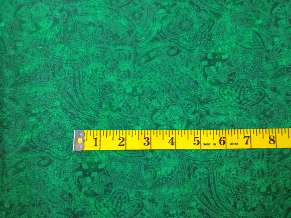 Precut, 3 yards: Wide Backing- Subtle Paisley Green #678