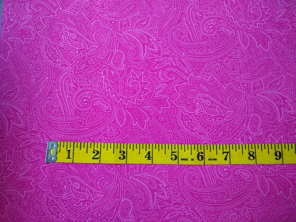 Precut, 3 yards Wide Backing - Paisley Fuschia #683