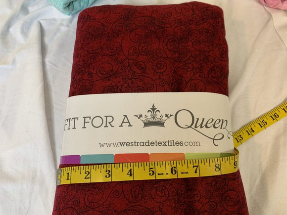 Precut: 3 yards Supersoft Flannel Burgundy – Fit For a Queen Willow: 110″ Wide 456