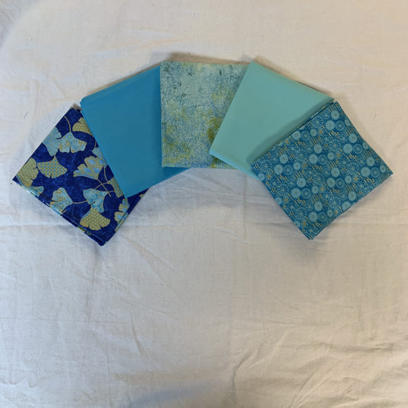 5 Half Yards Bundle pack #1054 Blue, Gold, and Green