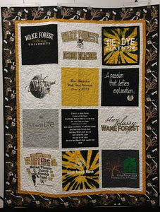 "Personalized and Customized ""Roll the Quad"" Theme-stitched Memory T-Shirt Quilt! Watch the video!"