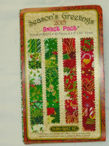 "Season's Greetings Snack Pack 2.5"" x 44 strips with FREE Pattern 7010"