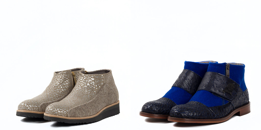 Marita Moreno's low boots for men in beige burel and textured leather, and blue burel with black leather with cracked effect.