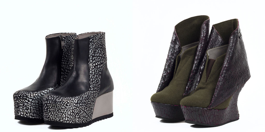 Marita Moreno's FW16 wedge boots in green and purple, and platform boots in silver and black leather.