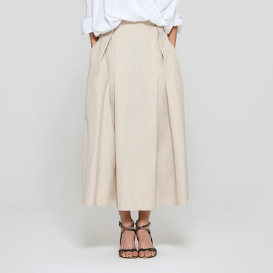 Nude long skirt.