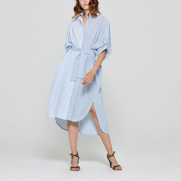 Striped white and blue long shirt dress with belt.