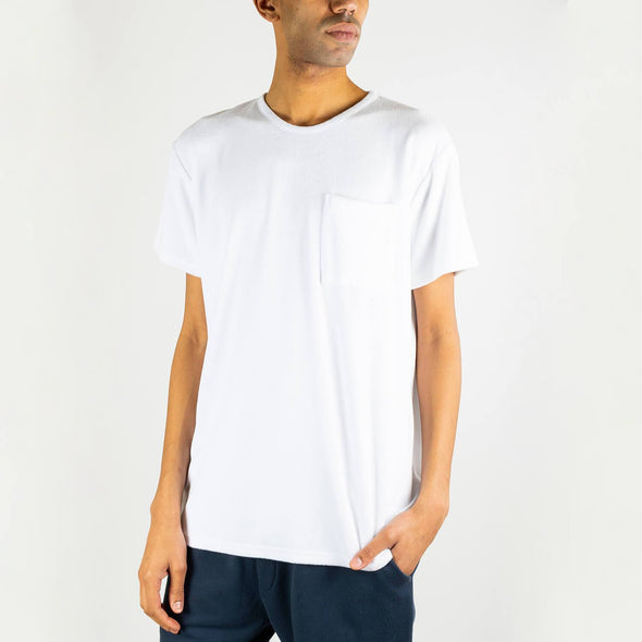 White 100% terry cloth cotton tee.