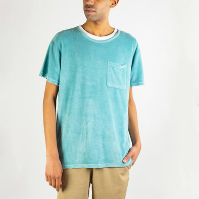 Ocean blue 100% terry cloth cotton tee.