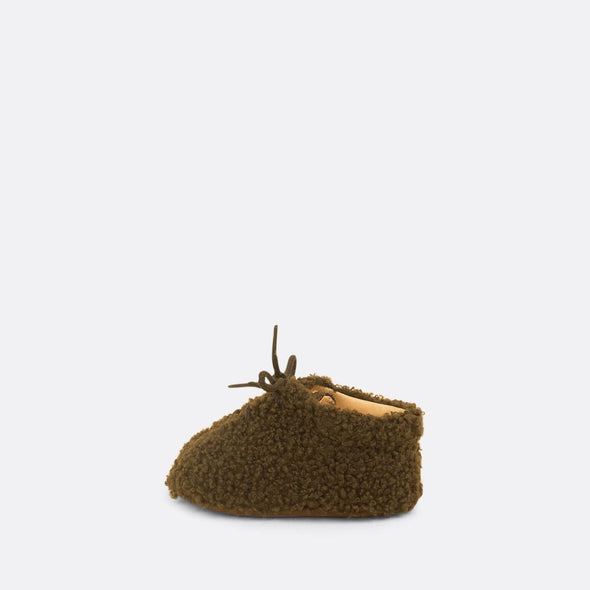 Soft baby faux sheep khaki fur bootie.