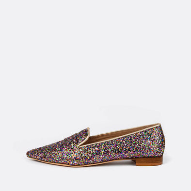 Multicolor glitter loafers.