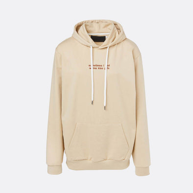 Beige hoodie with brown embroidery on the chest.